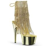 Oro 18 cm ADORE-1017RSF botines con flecos de mujer tacón altos