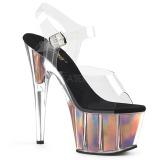 Oro 18 cm ADORE-708HGI Holograma plataforma sandalias de tacón alto