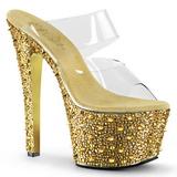 Oro 18 cm BEJEWELED-702SP Piedras Brillantes Plataforma Zapatos