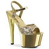 Oro 18 cm Pleaser SKY-310SQ Lentejuelas sandalias de tacón alto