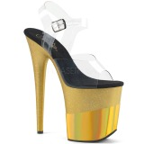 Oro 20 cm FLAMINGO-808-2HGM brillo plataforma sandalias de tacón alto