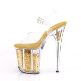 Oro 20 cm FLAMINGO-808GF brillo plataforma sandalias de tacón alto