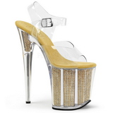 Oro 20 cm FLAMINGO-808SRS Sandalias Mujer Plataforma Strass