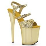 Oro 20 cm FLAMINGO-874 brillo plataforma sandalias de tacón alto
