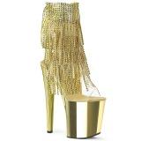 Oro 20 cm XTREME-1017RSF botines con flecos de mujer tacón altos