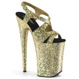 Oro 23 cm INFINITY-930LG brillo plataforma sandalias de tacón alto