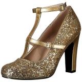 Oro Brillo 10 cm QUEEN-01 zapatos de salón tallas grandes