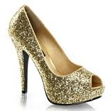 Oro Brillo 13,5 cm TWINKLE-18G Plataforma Zapatos de Salón Peep Toe