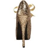 Oro Brillo 14,5 cm Burlesque TEEZE-10G Platform Calzado de Salón
