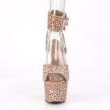 Oro Brillo 18 cm ADORE-791LG tacones altos con correa al tobillo