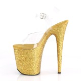 Oro Brillo 20 cm FLAMINGO-808LG Plataforma Zapatos de Tacón Alto