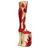 Oro Brillo 28 cm SPLASHY-3020 Botas Altas para Drag Queen