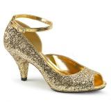 Oro Brillo 7,5 cm BELLE-381G zapatos de salón punta abierta