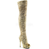 Oro Lentejuelas 15 cm PLEASER BLONDIE-R-3011 Botas Over Knee Plataforma