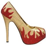 Oro Piedras Brillantes 14,5 cm Burlesque TEEZE-27 Zapatos de tacón altos mujer