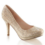 Oro Piedras Cristal 9 cm COVET-02 Zapatos Salón Fiesta con Tacón
