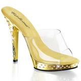 Oro Piedras Strass 13 cm LIP-101SDT Plataforma Mules Zapatos