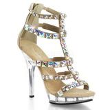 Oro Piedras Strass 13 cm LIP-158 Zapatos Tacón Aguja Plataforma