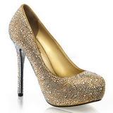 Oro Piedras Strass 13 cm PRESTIGE-20 Plataforma Zapato Salón