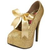 Oro Piedras Strass 14,5 cm Burlesque TEEZE-04R Plataforma Zapato Salón