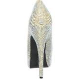 Oro Piedras Strass 14,5 cm Burlesque TEEZE-06R Plataforma Zapato Salón