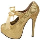 Oro Piedras Strass 14,5 cm TEEZE-04R Plataforma Zapato Salón