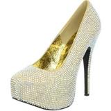 Oro Piedras Strass 14,5 cm TEEZE-06R Plataforma Zapato Salón
