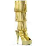 Oro Polipiel 15 cm DELIGHT-2019-3 botas con flecos de mujer tacon altos
