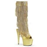 Oro Strass 18 cm ADORE-2024RSF botas con flecos de mujer tacón altos
