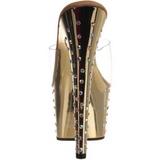 Oro Strass Platform 18 cm STARDUST-701 Mulas Tacones Altos Mujer