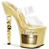 Oro Transparente 18 cm Pleaser DICE-702-2 Plataforma Mules Altos