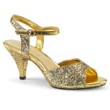 Oro brillo 8 cm Fabulicious BELLE-309G sandalias de tacón bajo