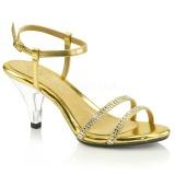 Oro piedras strass 8 cm BELLE-316 Zapatos para travestis