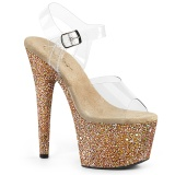 Oro purpurina plataforma 18 cm ADORE-708LG zapatos para pole dance y striptease