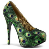 Patron de Pavo Real 14,5 cm TEEZE-06-5 Plataforma Zapatos de Salón