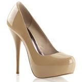 Piel Beige Brillante 13,5 cm GORGEOUS-20 Plataforma Zapatos de Salón