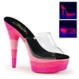 Pink 15 cm DELIGHT-601UVS neon platform mules womens