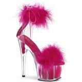 Pink 18 cm ADORE-724F sandalias de tacón con plumas pole dance