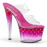 Pink 18 cm STARDUST-702T Rhinestones platform mules womens