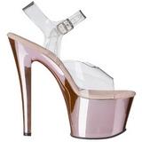 Pink Transparente 18 cm SKY-308 Plataforma Tacones de Aguja