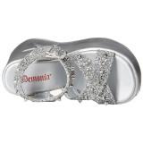 Plata 13 cm Demonia DYNAMITE-02 lolita zapatos sandalias con cuña alta