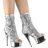 Plata 15 cm DELIGHT-1008SQ botines con lentejuelas de mujer