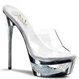 Plata 16,5 cm Pleaser ECLIPSE-601DM Strass Plataforma Mules Altos