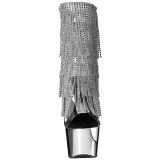 Plata 18 cm ADORE-1017RSF botines con flecos de mujer tacón altos