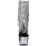 Plata 18 cm ADORE-1017RSFT botines con flecos de mujer tacón altos