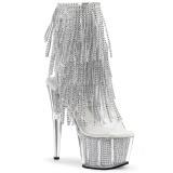 Plata 18 cm ADORE-1017SRS botines con flecos de mujer tacón altos