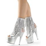 Plata 18 cm ADORE-1024RSF botines con flecos de mujer tacón altos