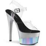 Plata 18 cm ADORE-708-2HGM Zapatos plataforma con tacones glitter