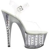 Plata 18 cm ADORE-708VLRS plataforma zapatos de tacón con piedras