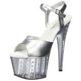Plata 18 cm ADORE-709VLRS plataforma zapatos de tacón con piedras